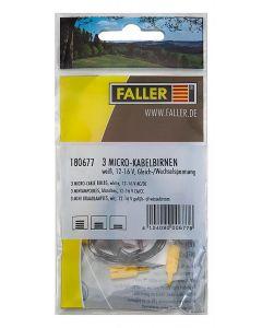 Faller 3 mini draadlampjes wit 180677