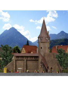 Kibri N Ronde toren met muur in Marktbreit   37109