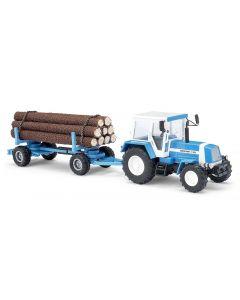 Busch Tractor Fortschritt ZT323 met aanhanger voor boomstammen 50404