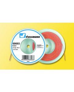 Viessmann Modelspoor stroomkabel op rol 25 meter oranje 68693