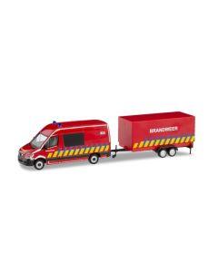 Herpa H0 Mercedes Benz Sprinter Brandweer + aanhanger (B) 936996