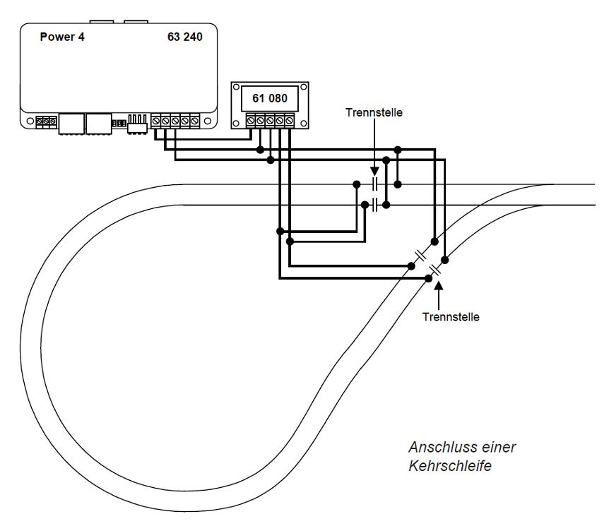 Keerlus schema i.c.m. booster 4 en keerlusrelais